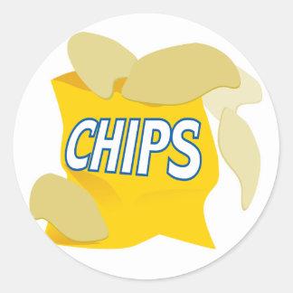 potato chips round sticker