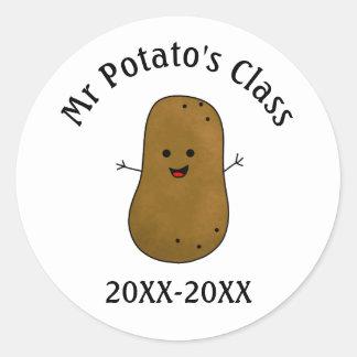 Potato Class Date Classic Round Sticker