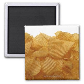 Potato crisps on white background, DFF image Square Magnet
