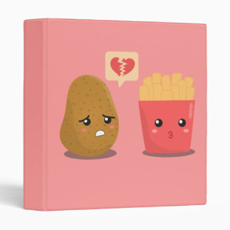 Potato is Heart Broken over French Fries 3 Ring Binders