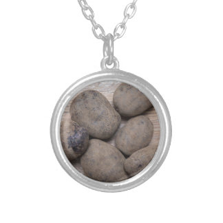 Potatoes on rustic wood Concept Silver Plated Necklace