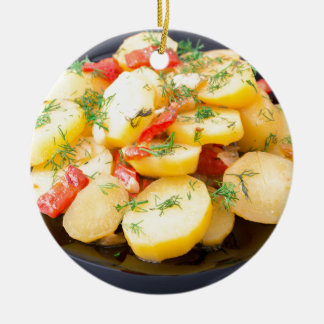 Potatoes with onion, bell pepper and fennel round ceramic ornament