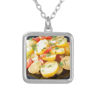 Potatoes with onion, bell pepper and fennel silver plated necklace