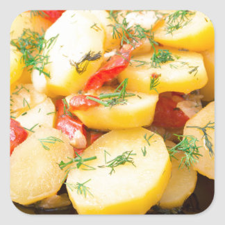 Potatoes with onion, bell pepper and fennel square sticker
