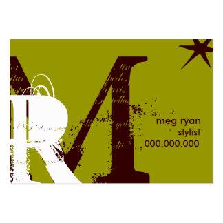Potelé vert d'initiales carte de visite grand format