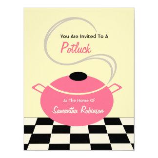 Potluck Invite - Black White & Pink Kitchen