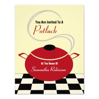 Potluck Invite - Black White & Red Kitchen