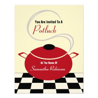 Potluck Invite - Black White Red Kitchen