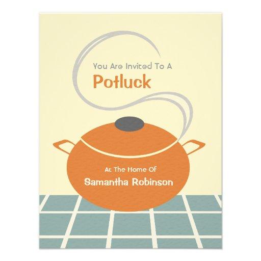 Potluck Invite - Orange & Blue Kitchen