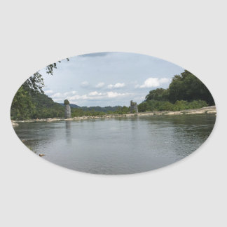 Potomac River through Harpers Ferry, WVA Oval Sticker