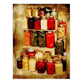Pots de nourriture maison-en boîte carte postale