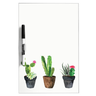 Potted Cactus and Succulents Dry Erase Board