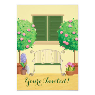 Potted Garden with Bench Family Reunion Invitation