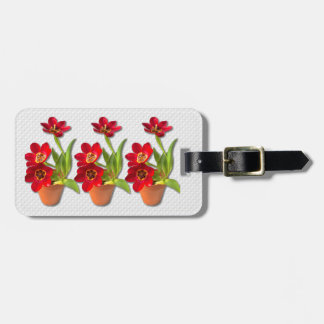 Potted Mature Red Tulips Photograph Bag Tag