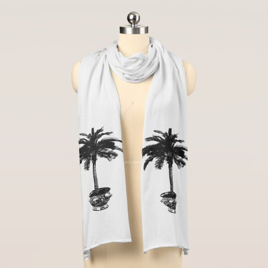 Potted Palm Tree - black and whtie Scarf
