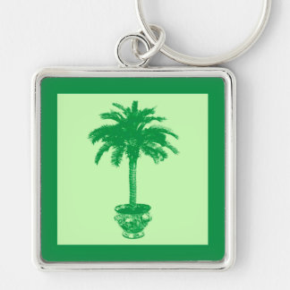 Potted Palm Tree - emerald and light green Keychain