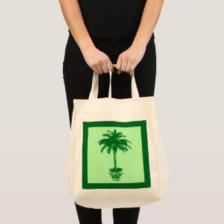 Potted Palm Tree - emerald and light green Tote Bag