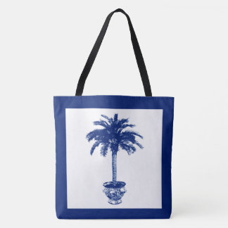 Potted Palm Tree - navy blue and white Tote Bag
