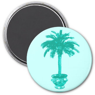 Potted Palm Tree - turquoise and aqua Refrigerator Magnets
