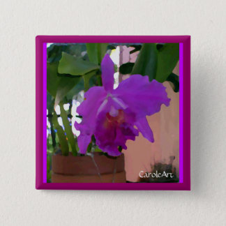 Potted Purple Orchid Flower 2 Inch Square Button