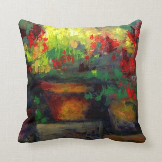 Potted Red Geraniums Painting Pillows
