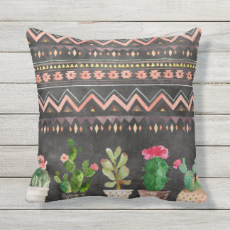 Potted Succulents reversible outdoor pillow
