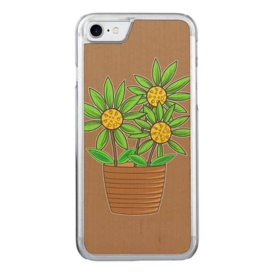 Potted Sunflower Illustration Carved iPhone 7 Case