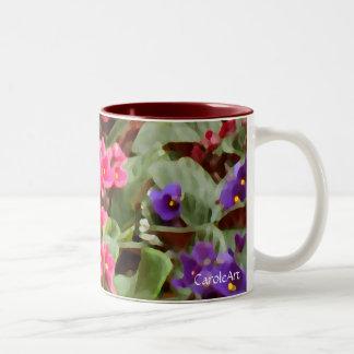 Potted Violets Two-Tone Coffee Mug
