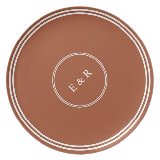 Potters Clay with White Wedding Detail Dinner Plates