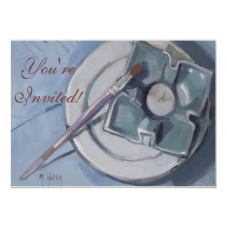 Pottery and paintbrush Still Life Painting Card