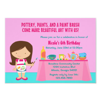 "Pottery Painting Arts and Crafts Birthday Party 5"" X 7"" Invitation Card"