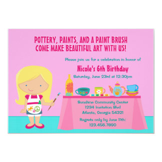 """Pottery Painting Arts and Crafts Birthday Party 5"""" X 7"""" Invitation Card"""