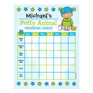 Potty Animal Boy Training Chart Letterhead