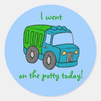 Potty Training Reward Sticker--Truck Round Sticker