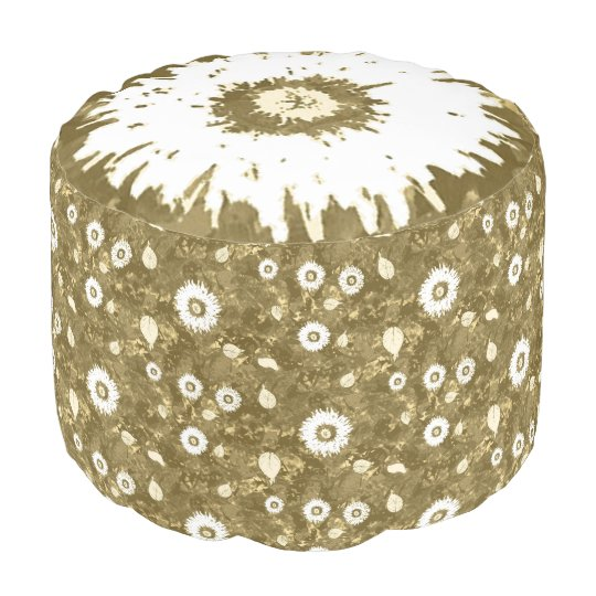 Pouf Custom Brown White Botannical Custom