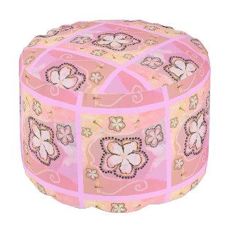 Pouf for girls room peach lavendar