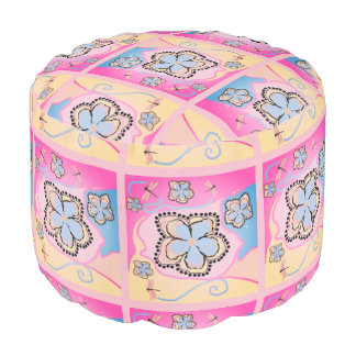 Pouf for girls room pink multi