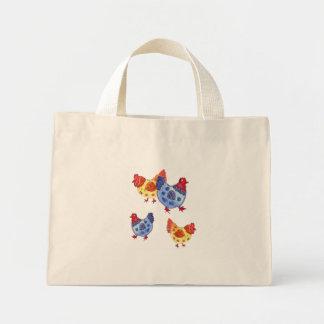 poules bleues et jaunes plusieurs sac en toile mini