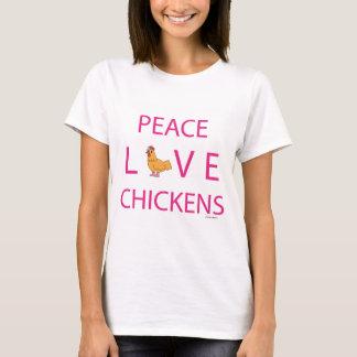 Poulets d'amour de paix t-shirt