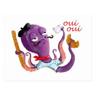 Poulpe français carte postale