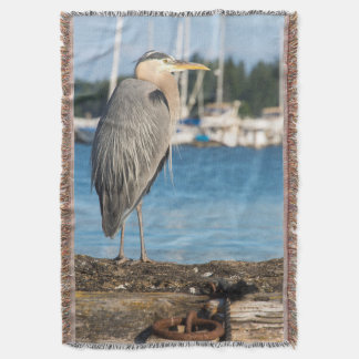 Poulsbo Great Blue Heron perched Throw Blanket