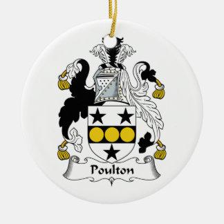 Poulton Family Crest Ceramic Ornament