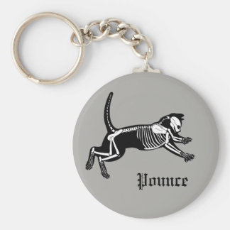 Pouncing cat skeleton grey key chain