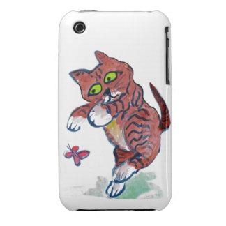 Pouncing Tiger Kitten - flutter butterfly iPhone 3 Cases