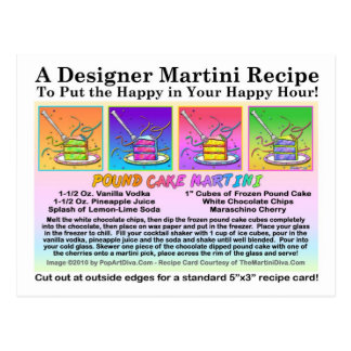 Pound Cake Martini Recipe Card Postcard