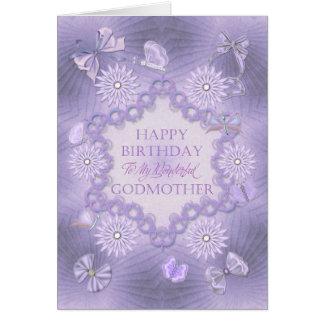 Pour la marraine, carte d'anniversaire lilas avec