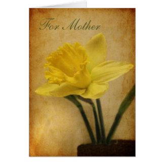 Pour la mère avec la jonquille carte de vœux