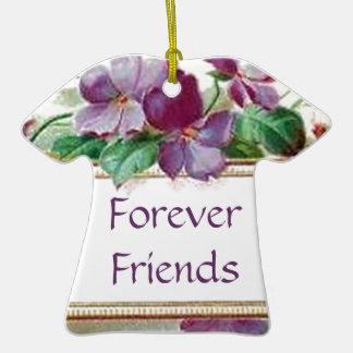 Pour toujours violettes florales vintages de rétro ornement t-shirt en céramique