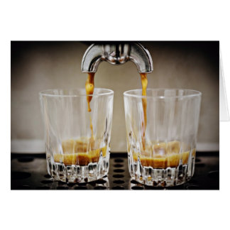 Pouring Espresso Shots greeting Card. Card