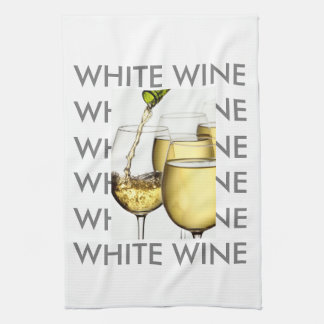 Pouring White Wine Photograph Kitchen Towel